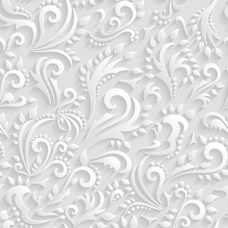 Ilustración de Vector Floral Victorian Seamless Background. Origami 3d Invitation, Wedding, Paper cards Decorative Pattern - Imagen libre de derechos