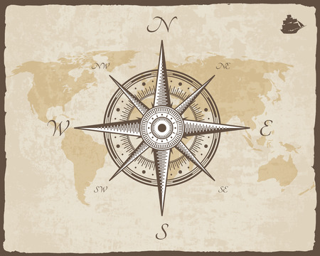 Ilustración de Vintage Nautical Compass. Old Map Vector Paper Texture with Torn Border Frame. Wind rose - Imagen libre de derechos