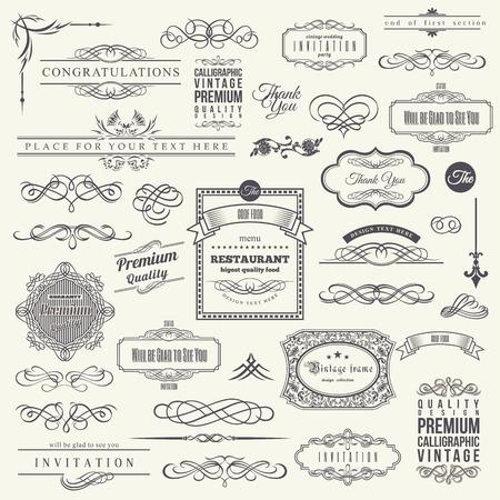 Illustration for Calligraphic Design Elements, Border Corner Frame and Invitation Collection - Royalty Free Image