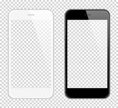 Illustrazione per Realistic smart phone Vector Mock Up. Fully Re-size-able. Easy way to place image into screen Smartphone, for web design showcase, product, presentations, advertising in modern style. Smartphone - Immagini Royalty Free
