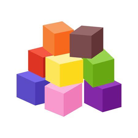 Ilustración de Set of blank colorful toy bricks vector illustration. Single vector cubes isolated on white background. - Imagen libre de derechos