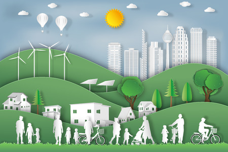 Illustration pour landscape of peoples exercise and relax in the morning city on summer, fresh air in the park as nature, healthy, paper art and craft style concept. vector illustration - image libre de droit