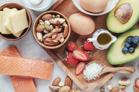 Foto de Keto, ketogenic diet, low carb, high good fat ,  healthy food - Imagen libre de derechos