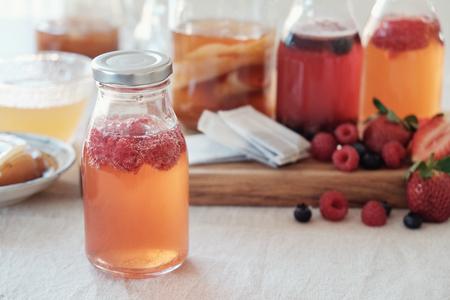 Foto de Kombucha second Fermented fruit tea, Probiotic food - Imagen libre de derechos