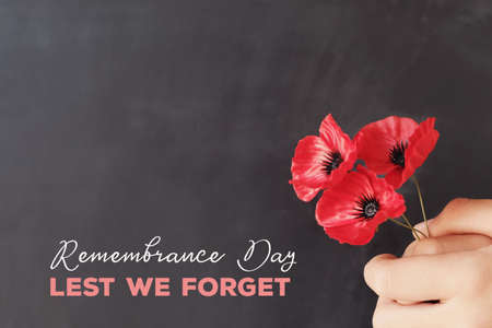 Photo pour Hand holding red poppy flowers, remembrance day,  Veterans day, lest we forget concept - image libre de droit