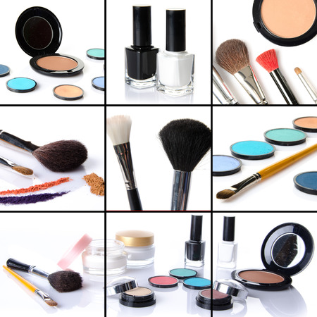 Makeup collage, eyeshadows, blusher,nail polish, brushes, isolated on white