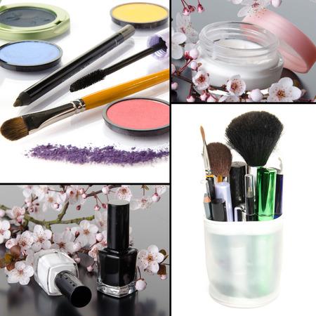 Makeup collage, eyeshadows, nail polish, moisturizer, mascara, brushes