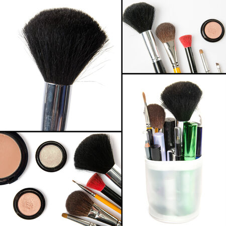 Makeup collage,  brushes, eyeshadows, mascara, isolated on white