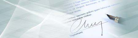 Photo pour Closeup of signature. panoramic banner - image libre de droit