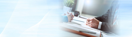 Photo for Situation of business negotiation between businesswoman and businessman, light effect. panoramic banner - Royalty Free Image