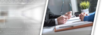 Photo for Situation of business negotiation between businesswoman and businessman; panoramic banner - Royalty Free Image