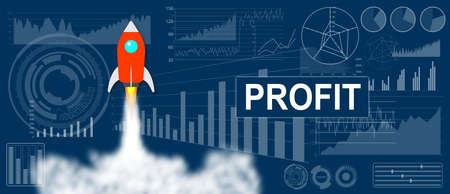 Photo pour Profit concept with a rocket launch on charts background - image libre de droit