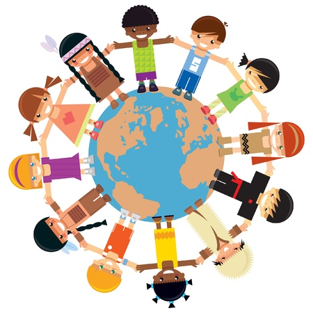 Illustration pour Many kids from different ethnicities holding their hands around the world - image libre de droit
