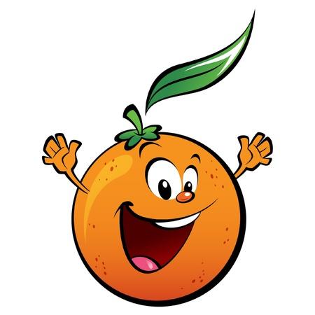 Illustration pour A happy orange waving its hands - image libre de droit