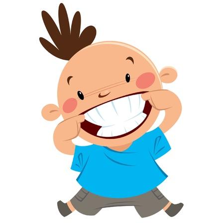 Illustration pour Happy boy smiling pointing his big smile and white clean teeth - image libre de droit