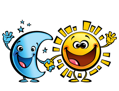 Illustration pour Shining yellow smiling sun and blue moon cartoon characters a happy day night concept image - image libre de droit