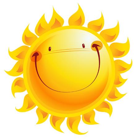 Illustration pour Shining yellow smiling sun cartoon character as weather sign temperature - image libre de droit