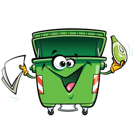Ilustración de Happy cartoon smiling garbage bin character. Reuse recycling and keep clean concept isolated in white background - Imagen libre de derechos