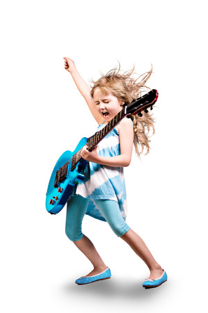 Photo for portrait of young girl with a guitar on the stage - Royalty Free Image