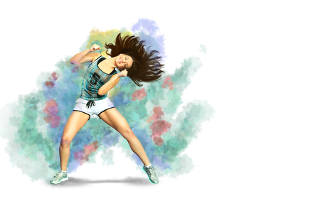 Photo for A young woman dancing aerobics, zumba or fitness dance - Royalty Free Image