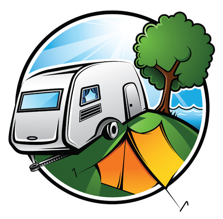 Illustration pour An idyllic camping area with a caravan, a tent and a tree on a sunny day - image libre de droit