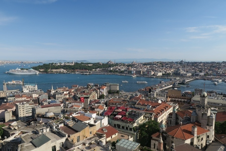Galata Bridge, the Golden Horn and Istanbuls Oldtown Sultanahmet, as seen from Galatatower
