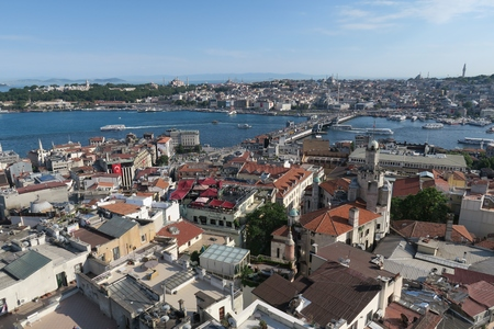Galata Bridge, Golden Horn, Bosphorus and Istanbuls Oldltown Sultanahmet, plus Hagia Sophia in Turkey.