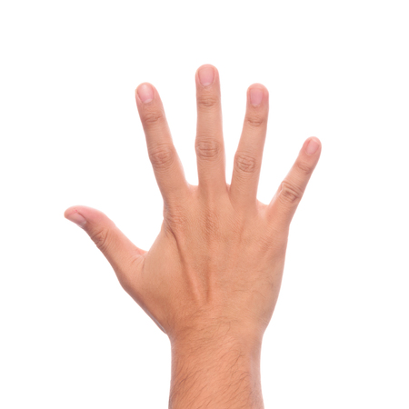 Foto de Male hand is showing five fingers isolated on white background with clipping path. - Imagen libre de derechos
