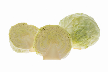closeup of cabbage isolated on white background