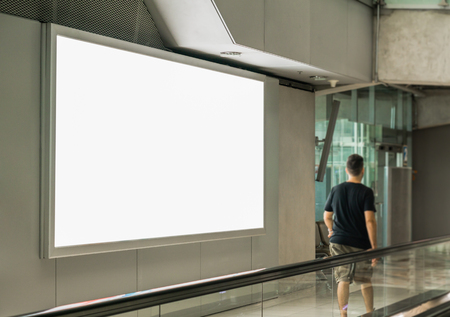 Photo pour Blank billboard posters in the airport,Empty advertising billboard at aerodrome. - image libre de droit