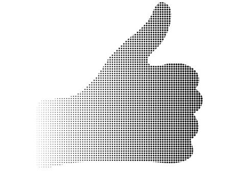 Illustration pour Silhouette halftone dotted thumb up hand abstract vector background - image libre de droit