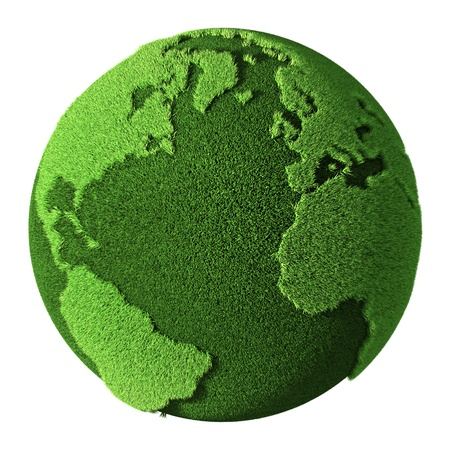 Photo pour Grass Globe isolated on white background. 3d render - image libre de droit