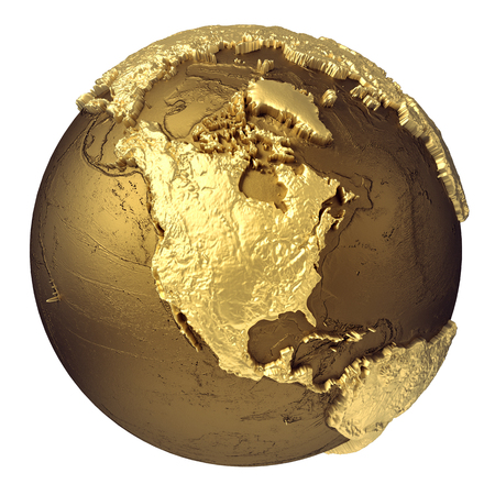 Photo for Golden globe model without water. North America. 3d rendering isolated on white background. Elements of this image furnished by NASA  - Royalty Free Image