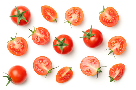 Photo pour Cherry tomatoes isolated on white background. Top view - image libre de droit