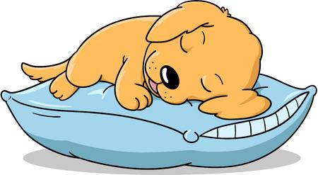 Illustration for Cute sleeping puppy cartoon. - Royalty Free Image