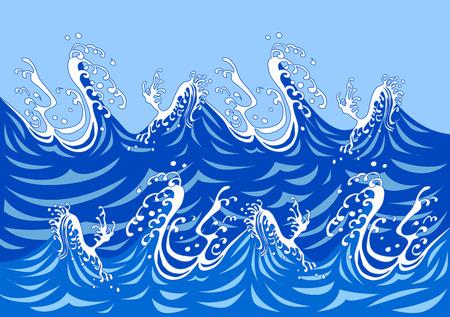 Ilustración de Illustration of sea Tatsunami - Imagen libre de derechos