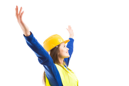 Photo pour Young beautiful woman engineer or architect with arms stretched wide open as visionary successful female concept isolated on white background - image libre de droit