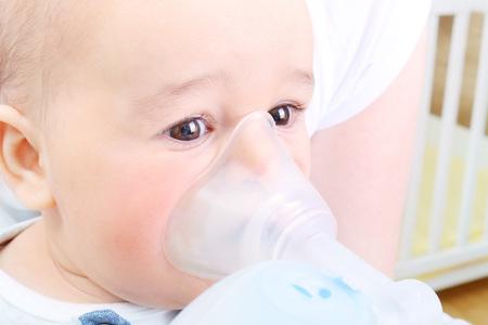 Foto für Mother making inhalation to her sick baby boy - Vaporizer - Lizenzfreies Bild