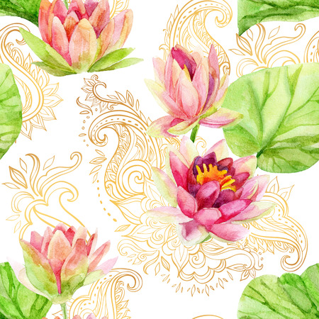 Photo for watercolor lotus flower on golden ornament. Watercolor flowers on indian paisley seamless pattern. Hand painted illustration on white background - Royalty Free Image