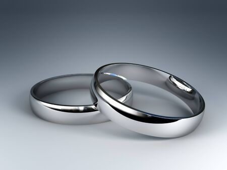 fine 3d image of classic silver wedding rings