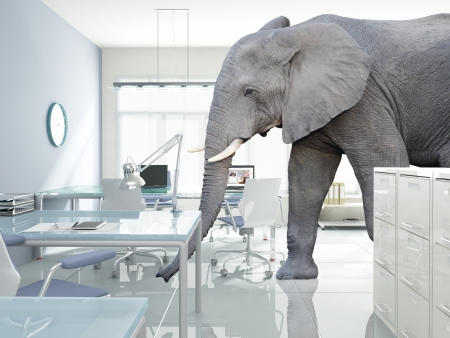 Photo for huge elephant walk in modern office - Royalty Free Image