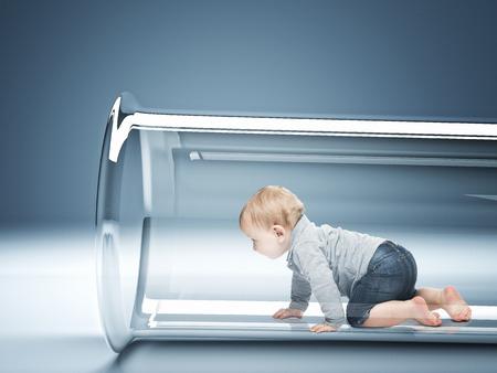 Photo pour caucasian baby in test tube 3d - image libre de droit