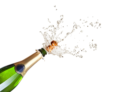 Foto de detail of popping champagne on black background - Imagen libre de derechos