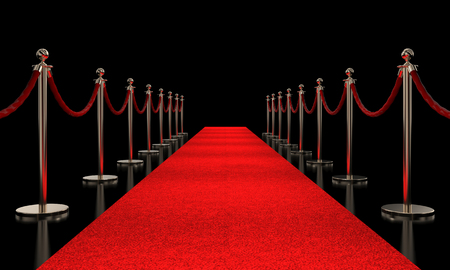 Photo pour red carpet and golden barrier 3d rendering image - image libre de droit