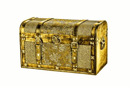 Photo pour antique golden coffer isolated on white - image libre de droit