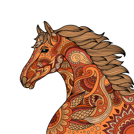 stylized hand drawn Head horse multicolored vector illustration. Beautiful design in doodle zentangle style. Lace pattern.