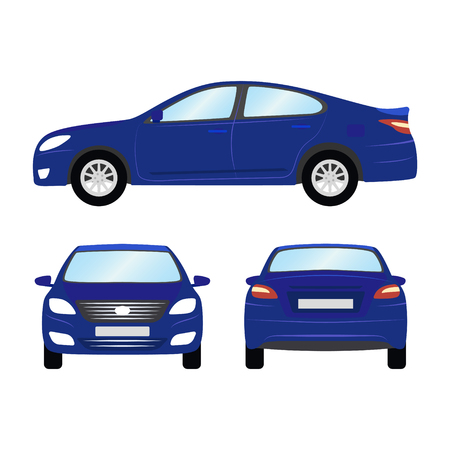 Illustration pour Car vector template on white background. Business sedan isolated. blue sedan flat style. side back front view. - image libre de droit