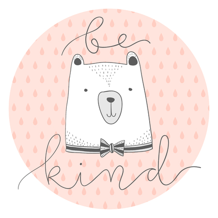Ilustración de stylized outline hand drawn Illustration of cute bear head with be kind quote. design for kids print clothing textile cards and other. - Imagen libre de derechos