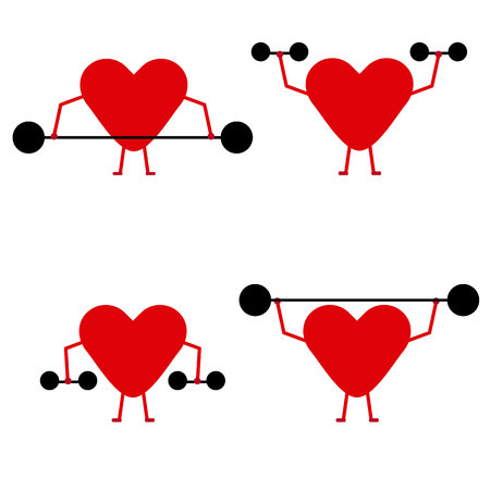 Ilustración de Strong hearts lifting weights on white background. - Imagen libre de derechos