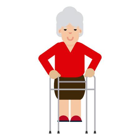Ilustración de Elderly woman with Walker - Imagen libre de derechos